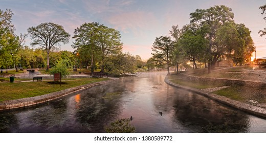Panorama - Sunrise Impending - Landa Park Comal Springs New Braunfels - Texas Hill Country