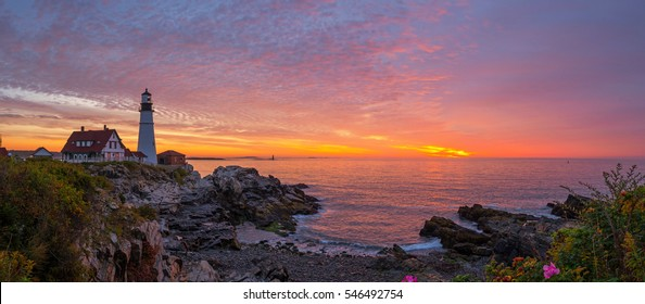 Panorama sunrise at Portland Head Light in Maine.