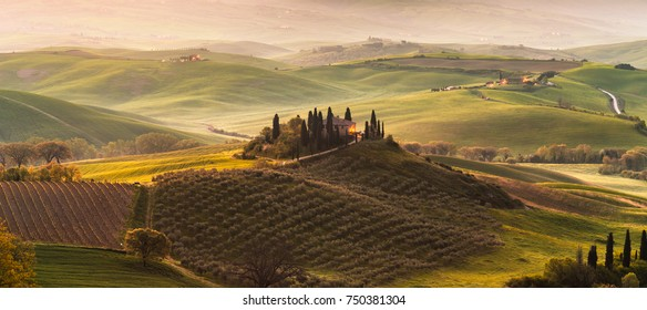 PANORAMA SUNRISE IN SAN QUIRICO D´ORCIA,TUSCANY,ITALY-APRIL16,2016:Farmhouse, vineyard and olive grove.
