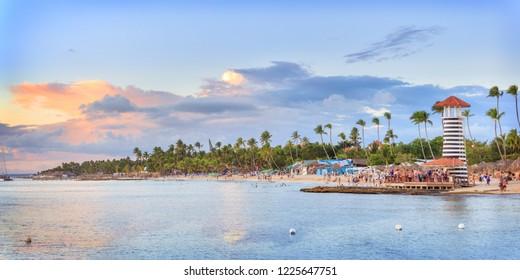 Panorama of sunset at Bayahibe beach, La Romana, Dominican republic