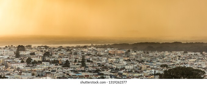 Panorama of the Sunset District of San Francisco, California and the Pacific Ocean at sunset.