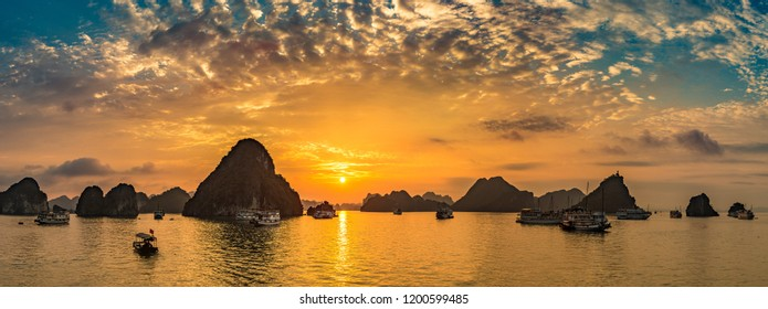 Panorama of Sunset in Halon bay, Vietnam in a summer day