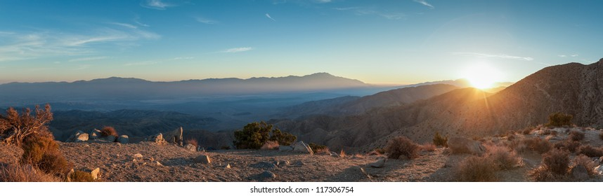 Panorama of sunset at Keys View Joshua Tree National Park in Southern California. This spot offers an amazing view of Coachella Valley and the Salton Sea.