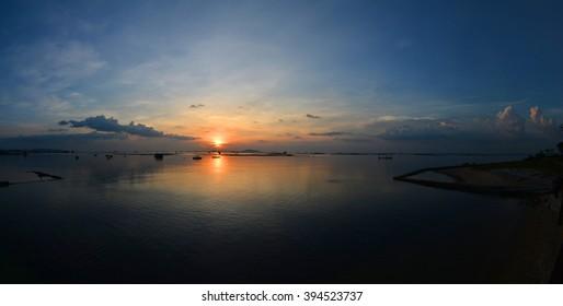 panorama, Sunset on the beach with beautiful sky