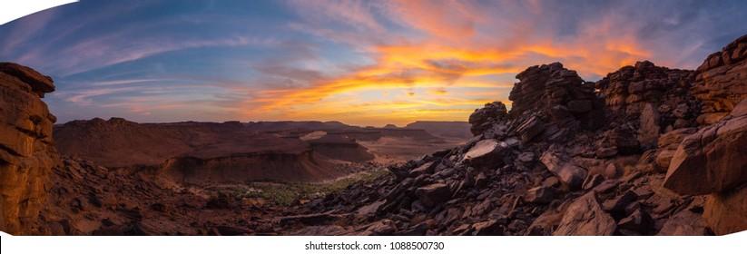 Panorama of sunset on desert in Mauritania