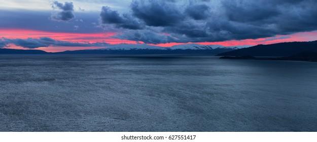 Panorama of sunset on lake Markakol, Altai mountains Kazakhstan
