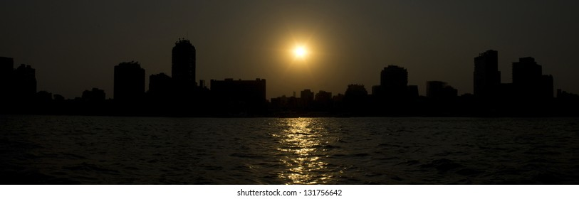 Panorama Sunset on a Nile in Cairo, Egypt