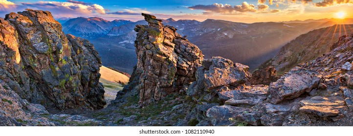 Panorama, Sunset at Rock Cut, in Rocky Mountains National Park.