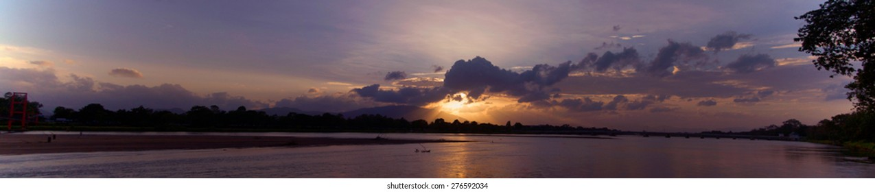 Panorama of sunset at Tak thailand.