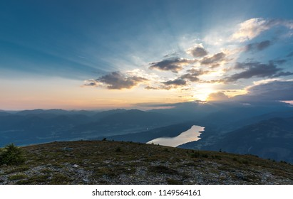 Panorama Sunset View To Lake Millstatt From Mt. Mirnock In Carinthia Austria