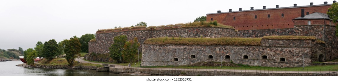 Panorama. Suomenlinna is the fortress outside Helsinki, here on a summer day, Finland.