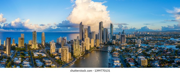 Panorama of Surfers Paradise on Queensland's City of Gold Coast, Australia