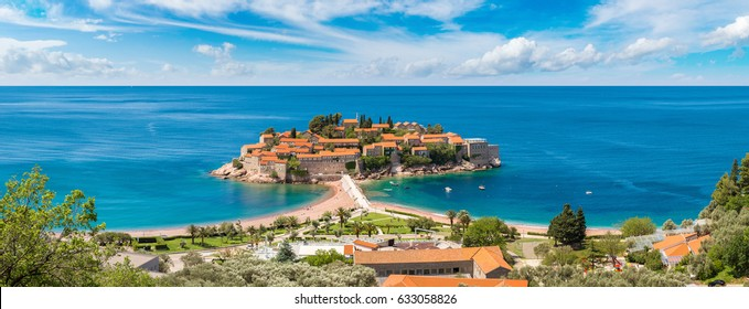 Panorama of Sveti Stefan island in Budva in a beautiful summer day, Montenegro