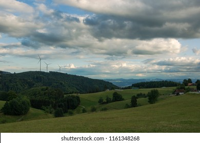 Panorama from Sweigmatt in the Black Forest over the city Wehr to the Alps