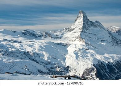 Panorama of swiss Alps with Matterhorn glacier