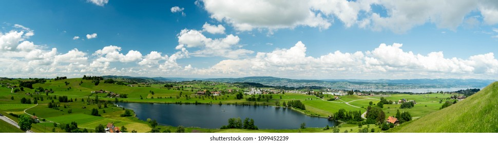 Panorama of the swiss glacial lake, lake Aegerisee, in the Swiss Alps, Zug Canton