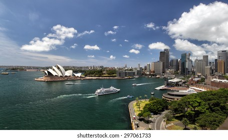 Panorama of Sydney Cove and the Harbour of Sydney, Australia, view on the Skyline of Sydney and the Sydney Opera House. Seen from the Sydney Harbour Bridge.