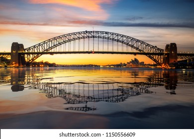 Panorama of Sydney harbour and bridge in Sydney city in sunrise , New south wales, Australia
