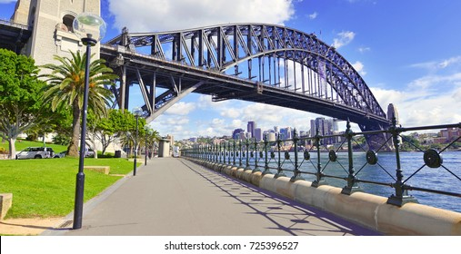 Panorama of Sydney Harbour Bridge, with city skyline and blue sky Australia