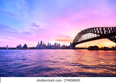 Panorama of Sydney Harbour at dusk