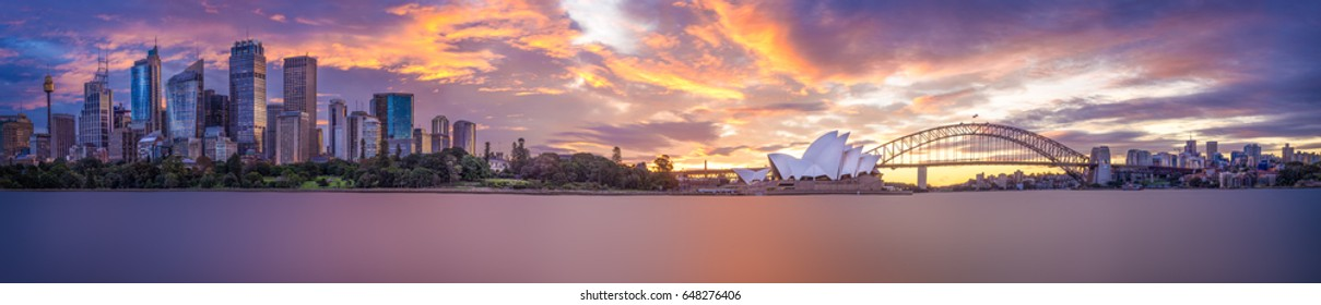 A panorama of Sydney at twilight