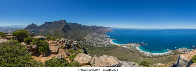 Panorama of Table Mountain and 12 Apostles in Cape Town with blue sky