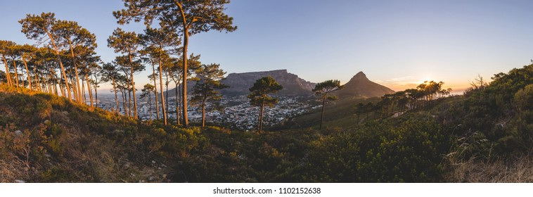 Panorama of Table Mountain in Cape Town at sunset