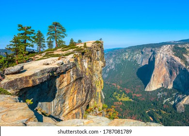panorama at Taft Point in Yosemite National Park, California, United States. View from Taft Point: Yosemite Valley, El Capitan and Yosemite Falls.