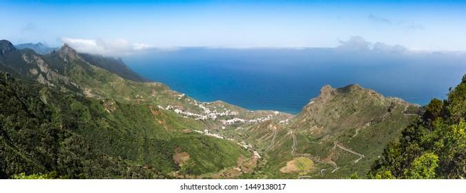Panorama of Taganana area and coastline of Parque Rural de Anaga, Tenerife, Spain