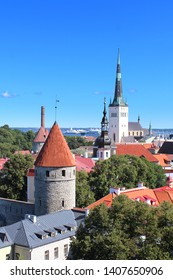 Panorama of Tallinn in Estonia (Baltic countries - Europe) / Old towers, gates and Saint Olaf church