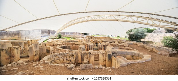 Panorama of Tarxien temple complex - Megalithic Temple. Malta. 8 March, 2018