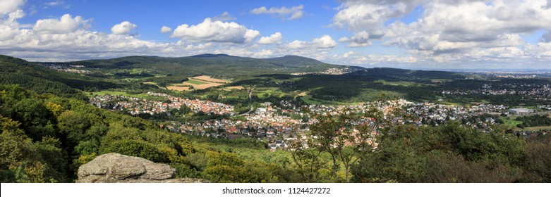 Panorama of the Taunus low mountain range as seen from viewpoint Grosser Mannstein, Hesse, Germany