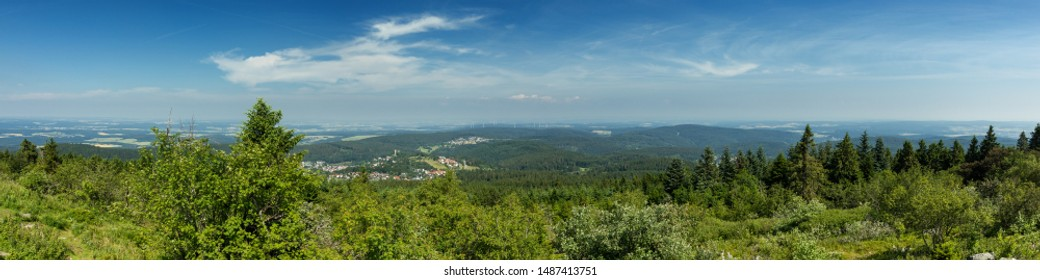 Panorama of the Taunus low mountain range as seen from viewpoint Feldberg, Hesse, Germany