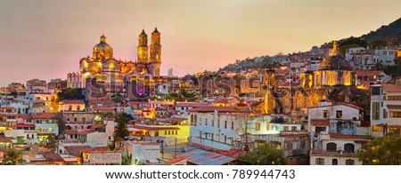 Panorama of Taxco city at sunset in Mexico