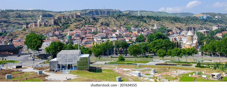 Panorama of Tbilisi, Georgia. Tbilisi is the capital and the largest city of Geogia with 1,5 mln people population