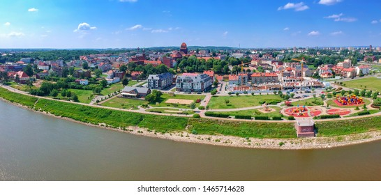Panorama of Tczew city over Wisla river in Poland