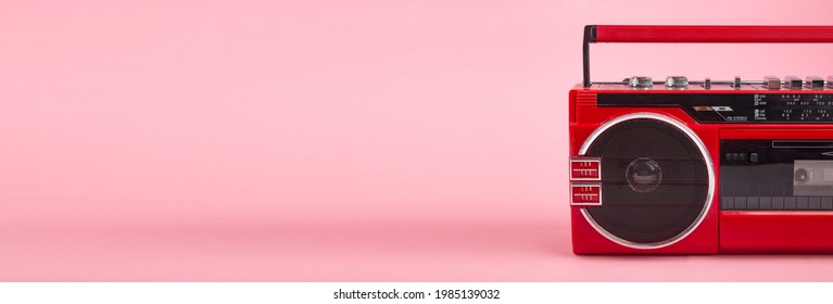 Panorama from ted vintage Tape player isolated on pinkbackground