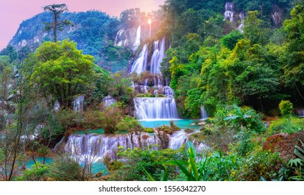 Panorama Tee lor su waterfall in Thailand at the tropical forest , Umphang District, Tak Province, Thailand