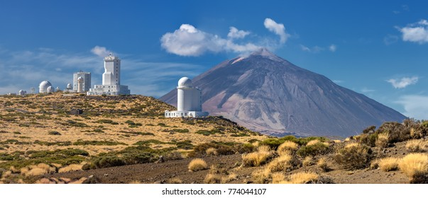 Panorama of the Teide Observatory in front of volcano Teide (Tenerife, Canary Islands)