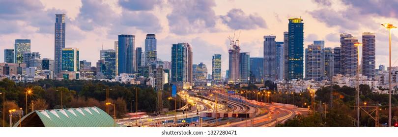 Panorama Of Tel Aviv Skyline City And Ayalon Freeway At Sunset - View Of  Tel Aviv Cityscape, Israel