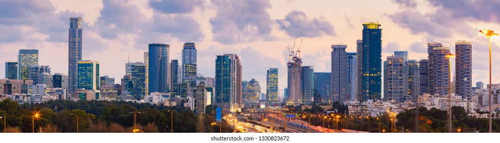 Panorama Of Tel Aviv Skyline City And Ayalon Freeway At Sunset - View Of  Tel Aviv Cityscape