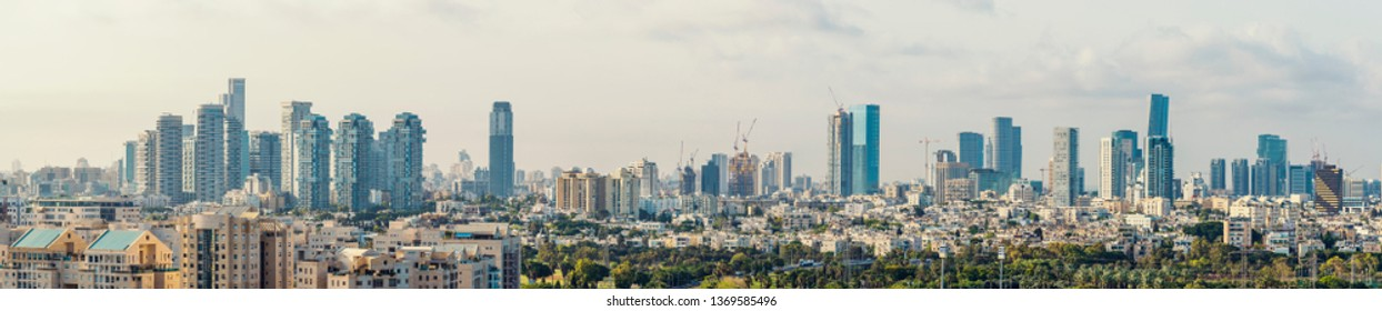Panorama Of Tel Aviv Skyline,  Tel Aviv Cityscape Panorama At Day, Israel