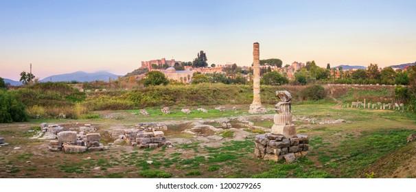Panorama of the Temple of Artemis at Ephesus - Selcuk, Turkey