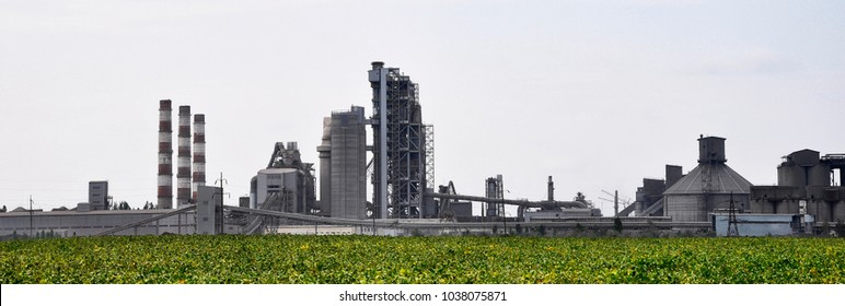 Panorama of the territory of the cement plant. Kamenets-Podolsky. Ukraine