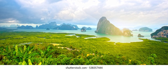 Panorama Thailand mountain view with sunrise, at Pha-Nang-She in Phang-Nga,point unseen in Thailand travel location.