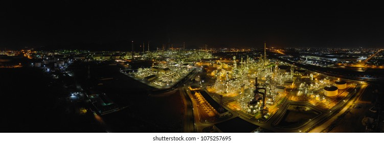 Panorama, Thailand oil refinery production at industrial estate Thailand. Crude Oil Production / Countries of the World - Oil Tank