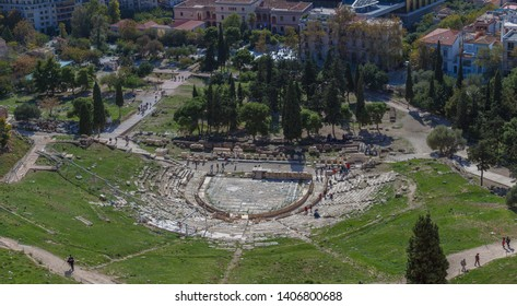 Panorama of Theater of Dionisio from Acropolis, Athens, Greece