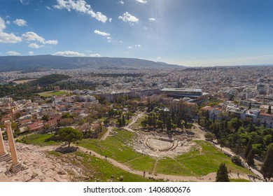 Panorama of the Theater of Dionisio and the Odeo of Pericles with the city of Athens in the background, Greece