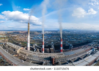 Panorama, thermal power plant in the city of Krasnoyarsk, shooting from air