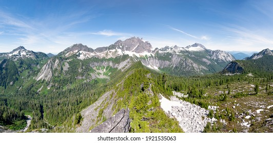 A Panorama of Three Fingers Mountain and the Surrounding Peaks. 				Squire Creek, Darrington, North Cascades, Washington.